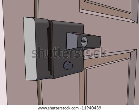 cartoon house inside. cartoon door and lock