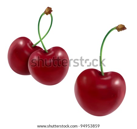 illustrated cherries on white background