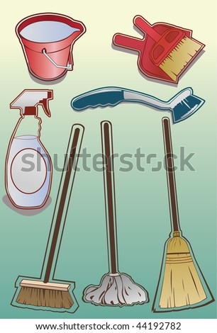 Illustrated cleaning items. Vector version also available.