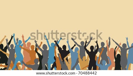 Illustrated colorful silhouette of a happy crowd