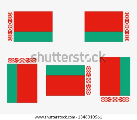 Illustrated Country Flag Reflected and Rotated of   Belarus