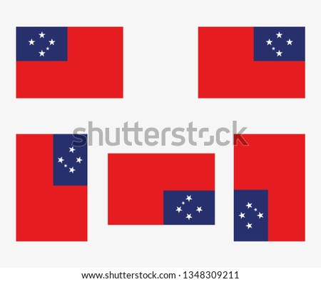 Illustrated Country Flag Reflected and Rotated of   Western Samoa #1348309211