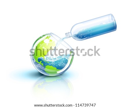 Illustrated Earth Being Filled with Water