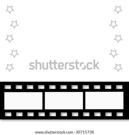 Illustrated Filmstrip borders this design with stars and room for copy.