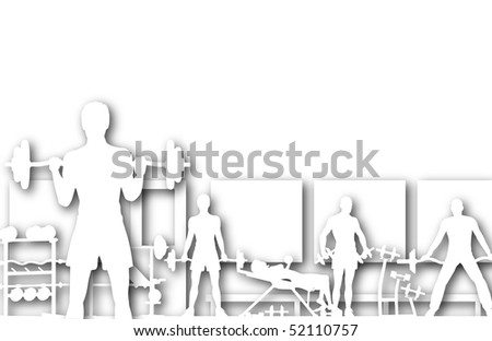 Illustrated foreground of a gym scene in silhouette with copy-space