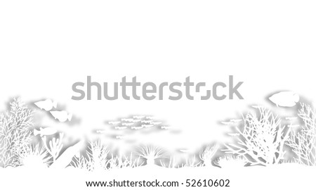 Illustrated foreground of white cutout sea coral silhouettes