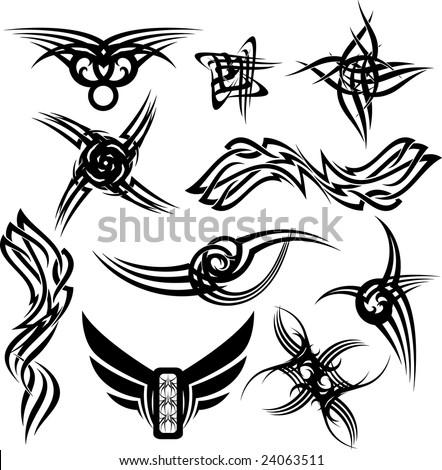 stock photo : illustrated gothic tattoos with many variations all black on a