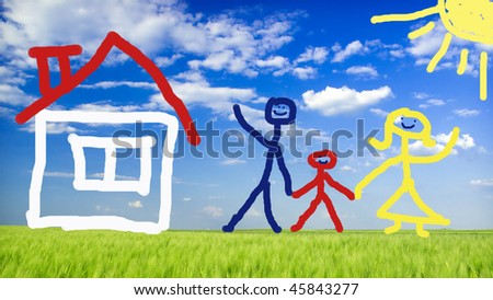 illustrated happy family and their new home on green meadow