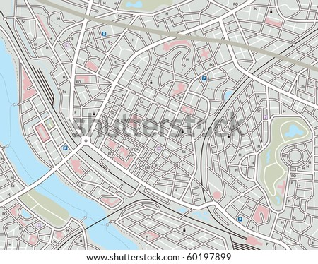 Illustrated map of a generic city with no names