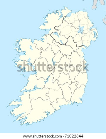 Illustrated map of the country of Ireland in Europe.