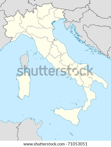 Illustrated map of the country of Italy in Europe.