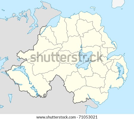 Illustrated map of the country of Northern Ireland in Europe.