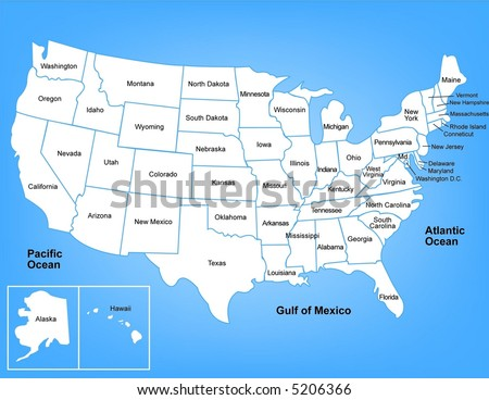 Illustrated map of the United States - stock photo