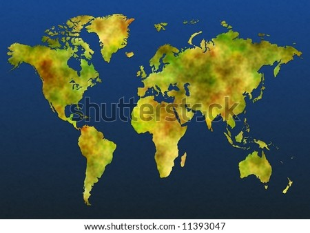 Illustrated map of the world over a textured blue background