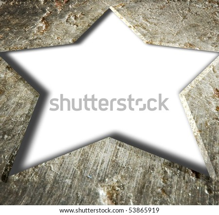 Illustrated metal frame star.. on an isolated white background