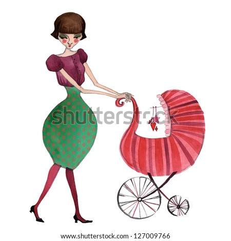 illustrated mother with baby stroller - stock photo