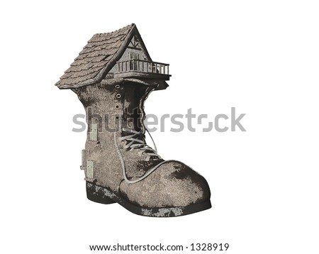 Illustrated Pencil Sketch fairytale Shoe House - stock photo