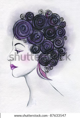 illustrated portrait of beautiful girl with fantastic hair style.  | watercolor — collection series