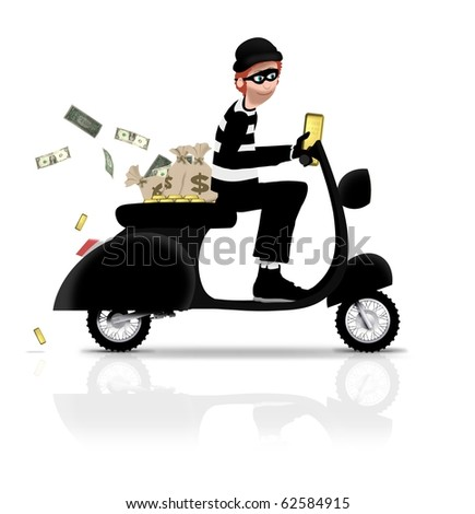 Illustrated robber riding a scooter