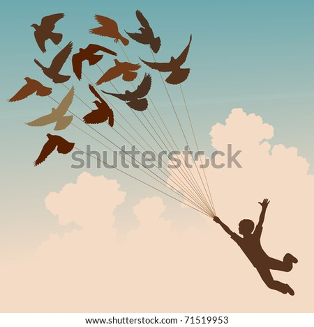 Illustrated silhouette of a boy carried by flying pigeons