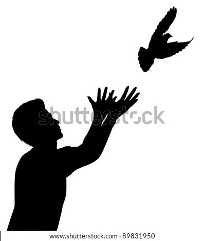 Illustrated silhouette of a man releasing a dove