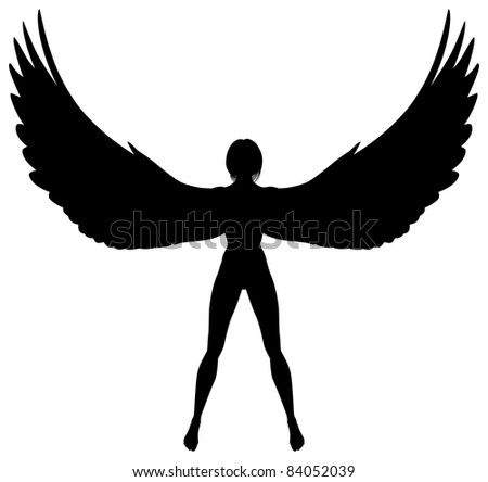 Illustrated silhouette of a woman or angel with wings