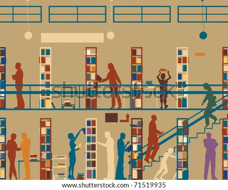 Illustrated silhouette of colorful people in a library