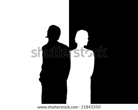 Illustrated silhouette of couple facing away from each other