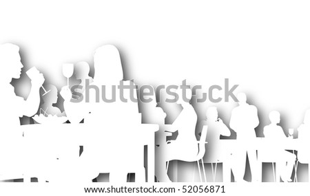 Illustrated silhouette of people eating in a restaurant