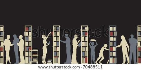 Illustrated silhouette of people in a library