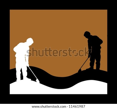 Illustrated silhouettes of men cleaning
