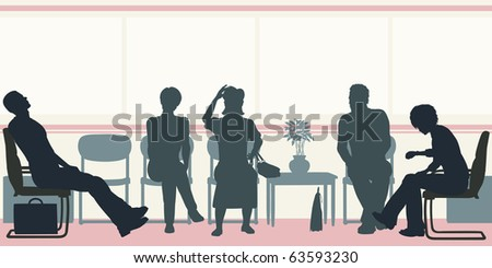 Illustrated silhouettes of people sitting in a waiting room