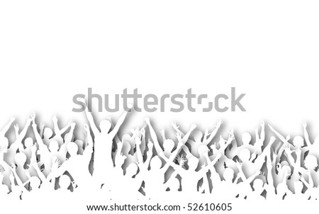 Illustrated silhouettes of white cutout cheering people