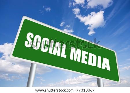 Illustrated social media sign over blue sky