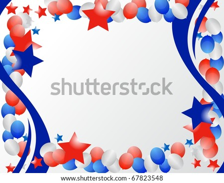 Illustrated stars and ribbons for patriotic background