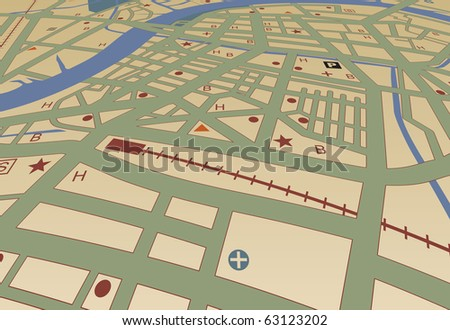 Illustrated streetmap of a generic city with no names