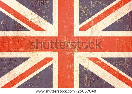 Illustrated version of the british flag , grunge version