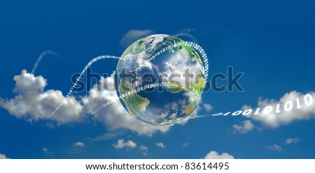 Illustrated with the earth and moving digits - stock photo