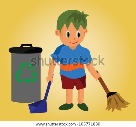Illustration - A cleaning boy.A boy and recycle bin.