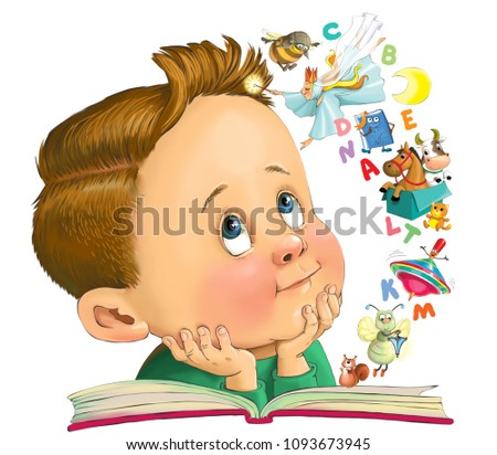 Illustration. A funny cartoon of a little boy is reading a book. From the pages jumped letters and fairy-tale characters.