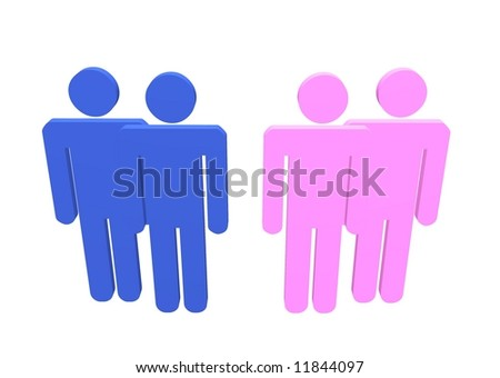 Illustration a gay and lesbian couple or straight couples standing by their friends
