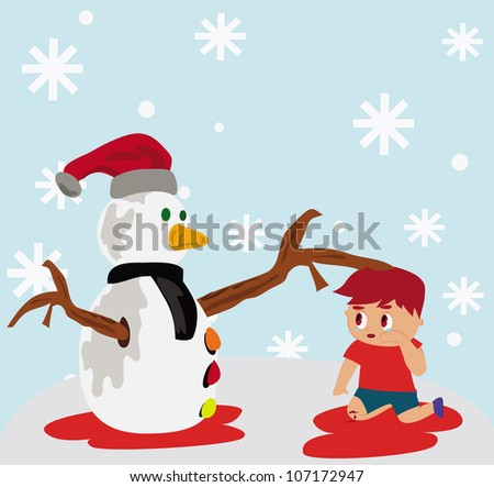 Illustration - A snowman and a crying boy.Concept:We will painful together.