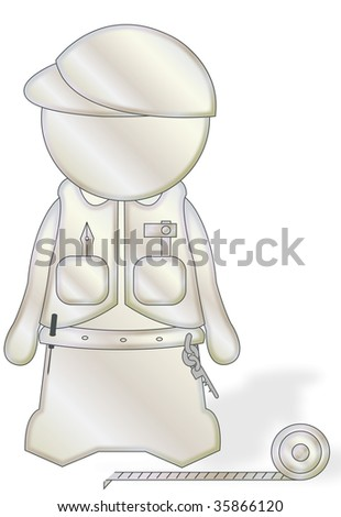 illustration: a white figure with working tools on a white background