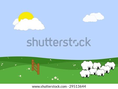 illustration about insomnia: frightned sheeps