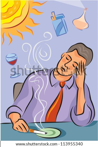 Illustration about migraine triggers showing a man with headache