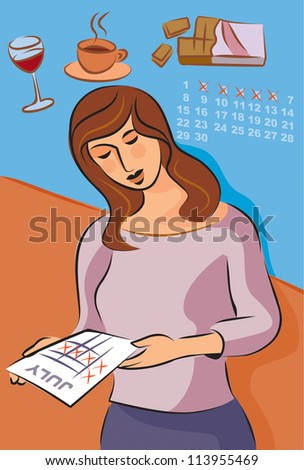 Illustration about migraine triggers with a woman looking at her monthly cycle