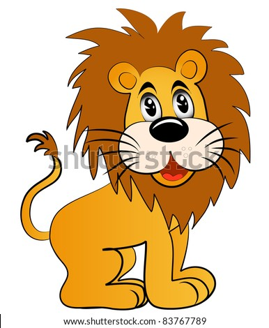 illustration amusing young lion on white background