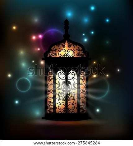 Illustration Arabic lantern with ornamental Pattern for Ramadan Kareem - raster #275645264