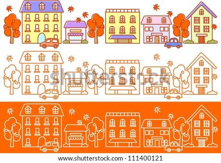 Illustration autumn streets