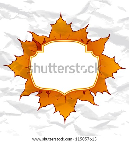 Illustration autumnal maple leaves, crumpled paper texture, copy space for your text - raster - stock photo